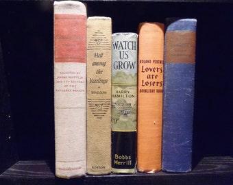 Autumn Book Bundle Orange Brown Blue Book Stack Instant Library Photo Props Decorative Vintage Books Book Collection Bookshelf Hone Decor