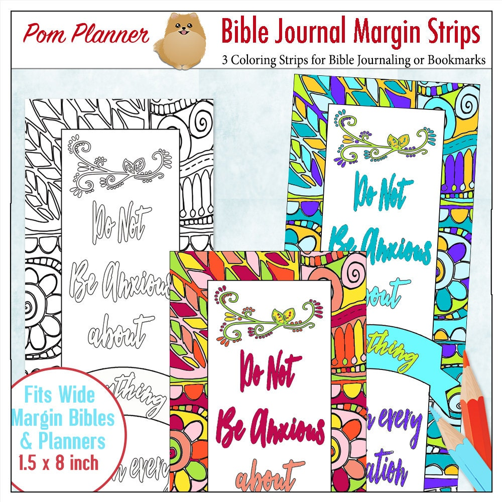 200 SALE Printable Coloring Bible Journaling Margin Strips Zentangle For Wide Bible Margins Or