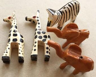 eco friendly carved painted wood african safari animal beads//giraffes elephants zebra--lot of 5
