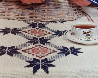 Blue Star Table Runner - cross Stitch Pattern Only
