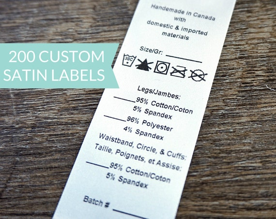 qty 200 white satin label with variables custom With content labels for clothing