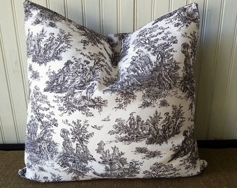 FULLY LINED Pillow Cover - French Pillow - Black And White Toile - French Toile Pillow - French Country - Toile Pillow - Black Toile -