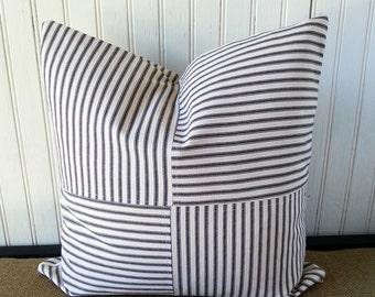 Black Ticking Pillow - Patchwork Pillow - 16 x 16 Pillow Cover - Farmhouse Pillow - French Ticking Pillow