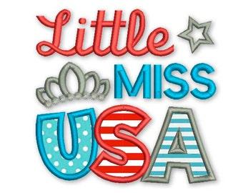 Little Miss USA 4th July Applique Machine Patriotic Embroidery Design DE030