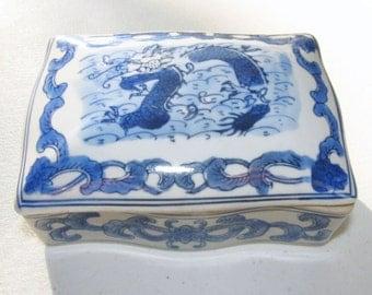 Oriental Trinket Box Asian Export Blue and White Dragon Cigarette Box