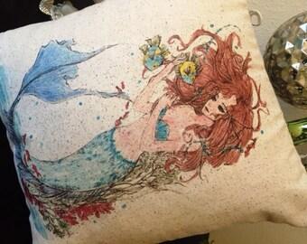 Mermaid, mermaid pillow, 12x12, nautical, coastal summer decor, ocean, beach house, lake house,