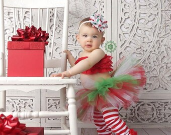 Christmas Tutu, Leg Warmers, headband- Red White and Green Christmas tutu set with matching headband Newborn-3t