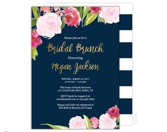 Bridal Brunch Invitation -  Navy & Gold Bridal Shower - Bridal Brunch Shower Invitation - Wedding Shower Invitation - Printable - Floral