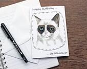 Grumpy Cat Birthday Card - Animal Birthday Card - Printed Card