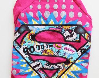 Upcycled Dog T-Shirt - Pink Supergirl