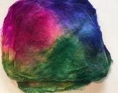 Hand Dyed Silk Fiber Mawata Silk Hankies for Felting, Spinning, Knitting. FUCHSIA, PURPLE and GREEN.