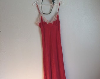 Vintage 60s 70s 80s 90s slip coral red orange lace maxi dress french gown evening retro grunge silk