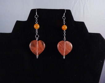 Cherry quartz hearts and carnelian beads hang from sterling silver ear wires, soho, boho,