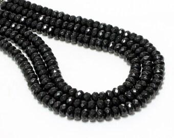 "GU-3378-3 - Black Onyx Faceted Rondelle Beads - 6x10mm - Gemstone Beads - 16"" Strand"