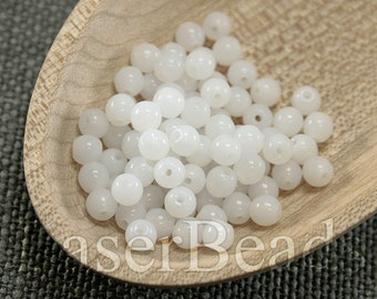 100pc 4mm White Beads Opal white beads Czech druk beads White 4mm round beads