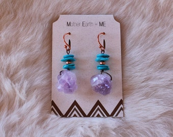 Sleeping Beauty Turquouise with Amethyst Points Copper Earrings