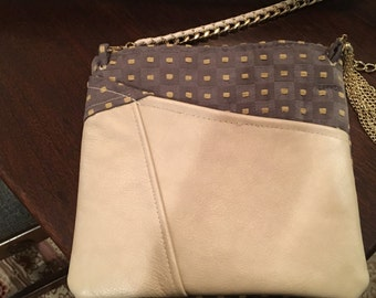 Leather Accented Cross Body Bag
