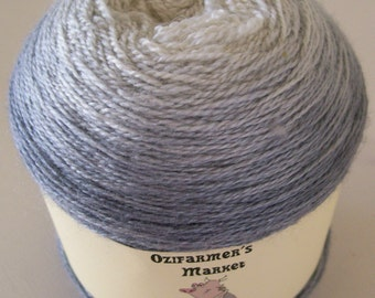 Silky Merino Lace - Gradient dyed merino and silk laceweight yarn.  Silver