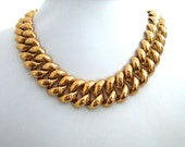 Vintage Monet Gold Plated Choker Necklace Elegant Classic Chain Link Designer Jewelry Bold & Chunky Jewelry Gifts for Her Fashion Wardrobe