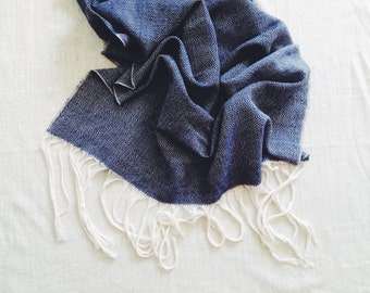 Weaving 003 - Midnight Blue and  White Wool Blanket Shawl Scarf Couch Throw