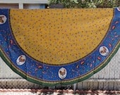 Reserved for Pasqua Country Round TableCloth with Roosters 70 in Sunny Yellow