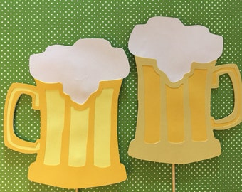 2 beer mugs on a stick,  2 Wedding photo props, Beer photo booth props