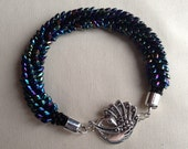 Peacock Iridescent Blue and Purple Magatama Kumihimo Bracelet