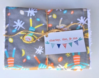 SHOP CLOSING SALE Sock Monkey Baby Burp Cloths Free Shipping Ready to Ship Shower Gift Gray Yellow Orange Blue Gender Neutral Boy Girl