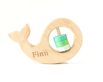 Personalized Rattle Baby Rattle Baby Toy Wooden Rattle Whale Rattle Baby Shower Gift Personalized Toy Baby Gift Wooden Toy Wood Rattle