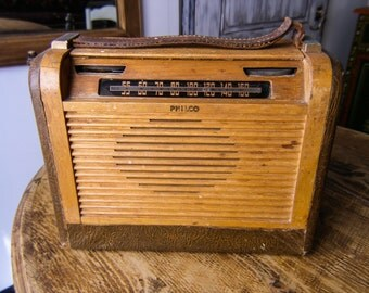 Vintage Philco Radio 1940's Wood ,Tube Radio, Roll Top Cover,Collectible Piece, TubeRadio,  Philco Model 46-350 Portable Radio