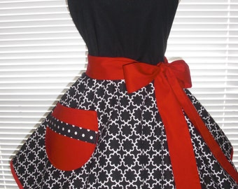 Retro Apron Black and White Retro Flowers Paired With Dots and Accented with Red and a Flirty Circular Flirty Skirt