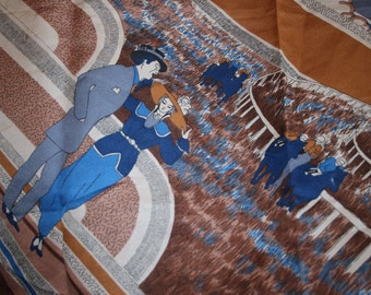 A Day at the Races Vintage Horse Racing Scarf Horses Racing Scarf Roaring 20's