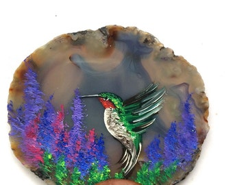 Hand Painted Brazilian Agate Lavender Hummingbird