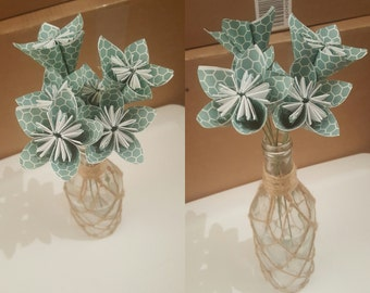 MOVING SALE: Blue Green Honeycomb Bouquet of 6 flowers