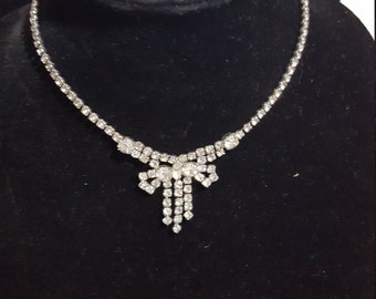 Nice Clear Rhinestone Necklace, Bow Tie, Vintage