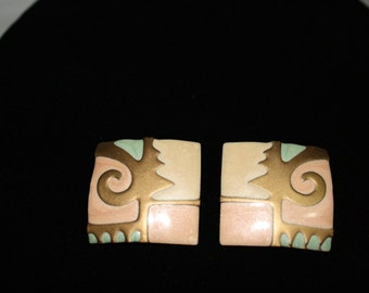 Edgar Berebi Enamel Earrings, New Vintage 1980s