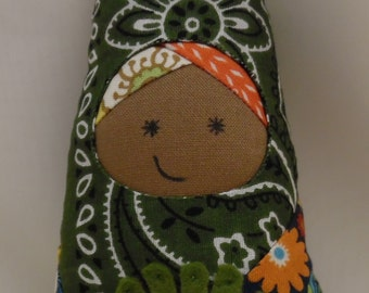 Fairy doll with butterfly wings, cheerful prints and wool felt flower accents 7 inches