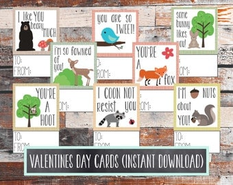 SALE Valentines Day Cards. Kids Valentines Day Cards. Woodland Animals. Woodland themed Valentines Cards. Valentines Day. INSTANT DOWNLOAD