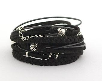 Silver Black Bohemian Wrap Bracelet, Black Silver Gypsy Boho Bracelet, Bohemian Jewelry, Women Bracelet, gift for her, boho chic