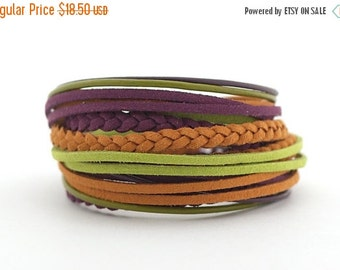 SALE Violet Mustard Green Bohemian Wrap Bracelet, Green Purple Women Bracelet, Brown Ethnic Gypsy Bracelet, gift for her, double wrap boho c