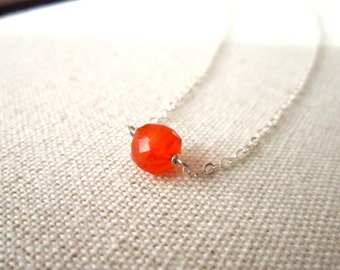 Orange and Silver Necklace, Carnelian Gemstone Cube, Sterling Silver Simple Neckace