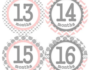 Baby Monthly Second Year 13-24 Months Milestone Growth Stickers Silver Light Pink Dots Chevrons Hearts Nursery Theme MS007 Baby Photo Prop