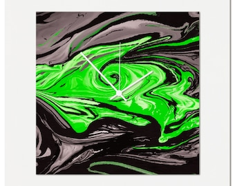 Green Swirl Clock | Multimedia Abstract Wall Decor, Artistic Acrylic and Metal Clocks