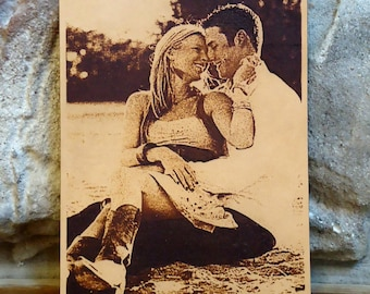 3rd Anniversary Gift - Your Cherished Wedding Photo Engraved on Leather for Third Anniversary, 4x6 and 5x7