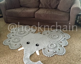 Crochet elephant rug newborn nursery decor