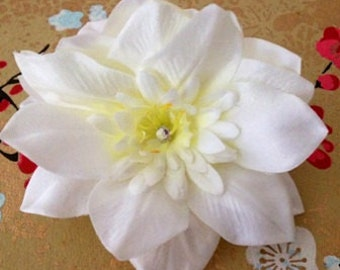 Clematis Flower Hair Clip//Double Flowers//White Flower//Single Flower// Clematis Hair Clips