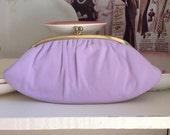 Vintage 1950s purple plush soft evening bag clutch/ vintage handbags/ purple evening bag