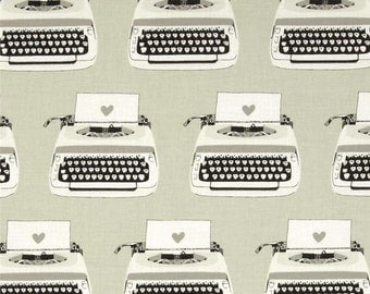 Cotton and Steel Black and White: Typewriters Fabric