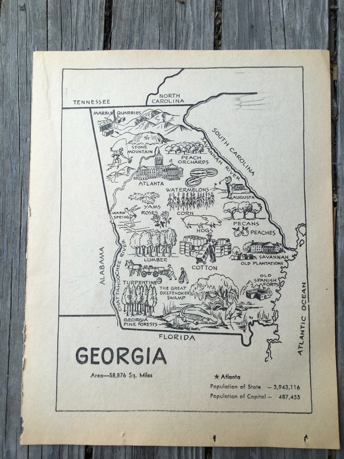 Old Georgia Map  Vintage Map Artwork  State Wall Art Print