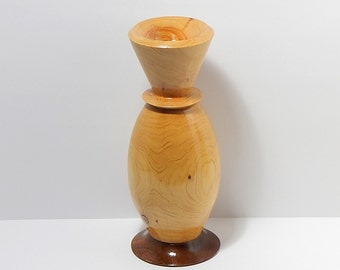 Bud Vase Handmade of Alligator Bark Juniper and Walnut Woods- 6.5 inches X 2.5 inches